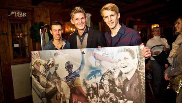 So feierten Kraft und Hayböck den Tournee-Triumph (Bild: facebook.com/Thomas Morgenstern)