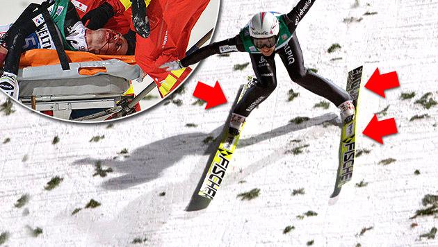 Ammann verkantet  vor dem Sturz mit beiden Ski. Die Organisatoren trifft aber keine Schuld. (Bild: AP, krone.at-Grafik)