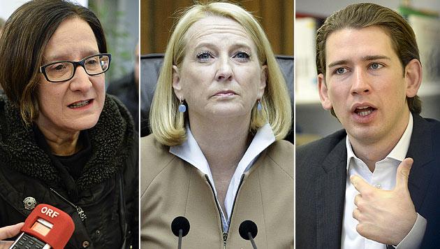 Innenministerin Mikl-Leitner, NR-Präsidentin Bures und Außenminister Kurz marschieren in Paris mit. (Bild: APA/HERBERT NEUBAUER, APA/GEORG HOCHMUTH)