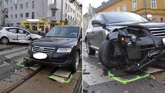 Drei Menschen bei Auto-Kollision in Wien verletzt (Bild: APA/LPD WIEN)