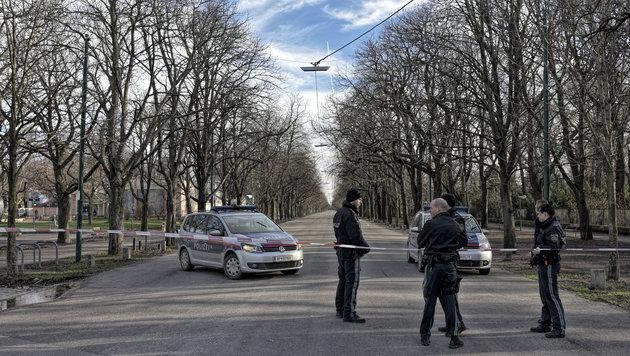 """Die Prater Hauptallee in Wien wurde wegen Sturm """"Felix"""" aus Sicherheitsgründen gesperrt. (Bild: APA/HERBERT NEUBAUER)"""