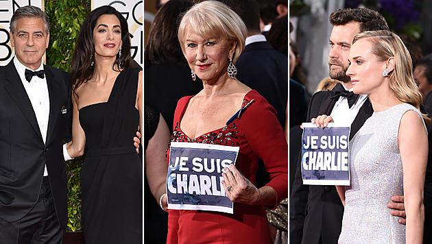 "Golden Globes: Auch die Promis sind ""Charlie"" (Bild: John Shearer/Invision/AP, Jordan Strauss/Invision/AP)"