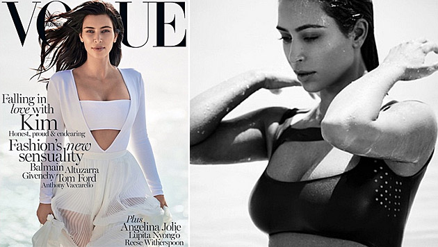 """Kim Kardashian ist zum zweiten Mal Covergirl der """"Vogue"""". (Bild: Vogue, instagram.com/kimkardashian)"""