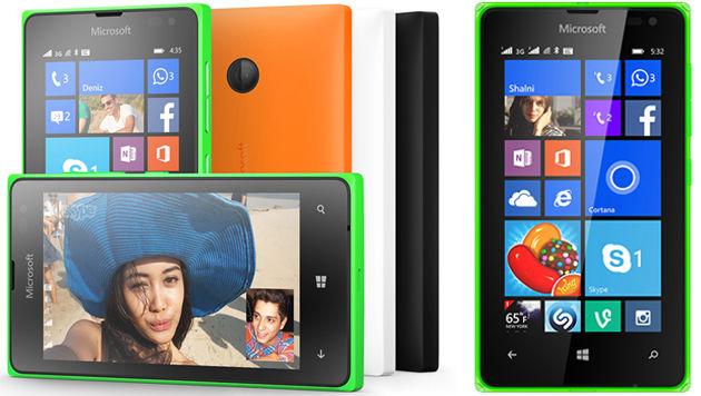 Lumia 435 (links) und 532 (rechts) ähneln sich bis auf die Kamera stark. (Bild: Microsoft)