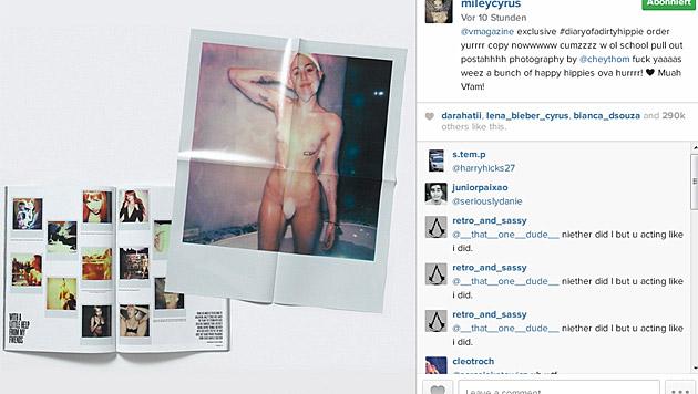Eines der Nacktfotos von Miley Cyrus gibt's sogar als Poster. (Bild: instagram.com/mileycyrus)
