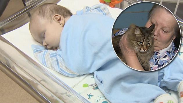 Katze bewahrt ausgesetztes Baby vor dem Kältetod (Bild: YouTube.com/RuptlyTV)