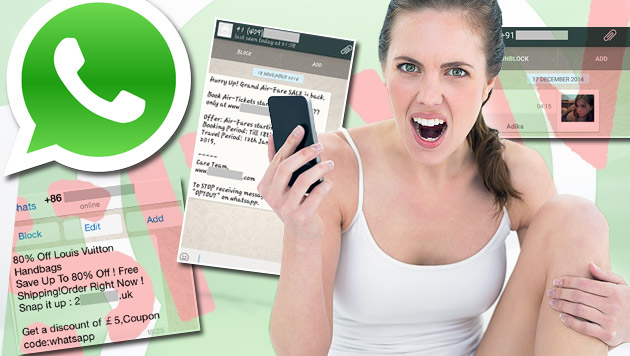 Die Spam-Mafia nimmt WhatsApp-User ins Visier (Bild: thinkstockphotos.de, AdaptiveMobile, Screenshot: Whatsapp)