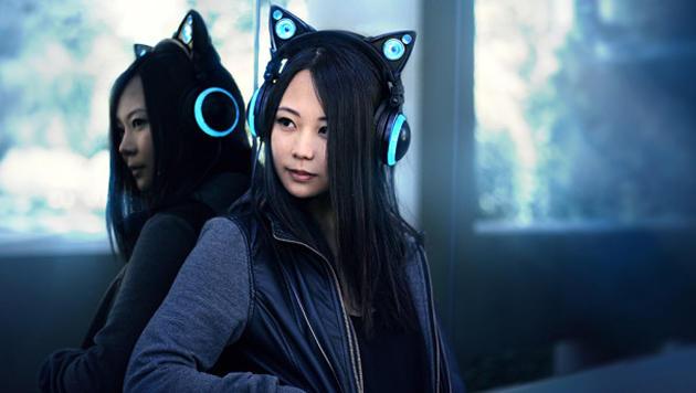Leuchtende Katzen-Kopfhörer mit Speaker kommen (Bild: indiegogo.com)