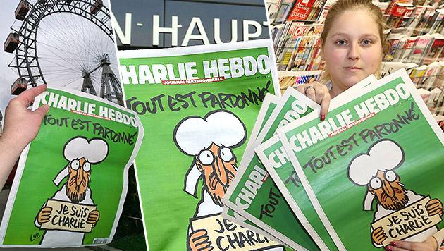 """Enormer Ansturm auf """"Charlie Hebdo""""-Hefte in Wien (Bild: Zwefo, Karl Rauchberger, APA/EPA/Herbert P. Oczeret)"""