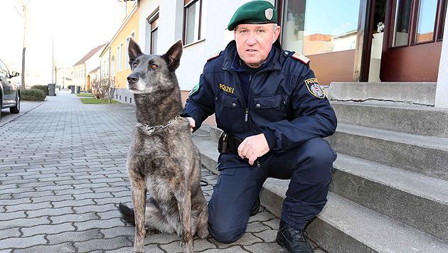 """Polizist Roland Mad mit seinem treuen Diensthund """"Kira"""" (Bild: Reinhard Judt)"""