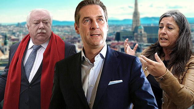 """""""Schicken wir Häupl und Vassilakou in die Pension"""" (Bild: APA/HANS PUNZ, APA/GEORG HOCHMUTH, APA/HERBERT PFARRHOFER)"""