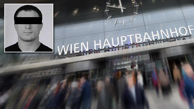 Für den Russen Aslan G. hatten am Wiener Hauptbahnhof die Handschellen geklickt. (Bild: APA/ROLAND SCHLAGER, politicalhotwire.com, krone.at-Grafik)