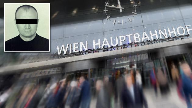 Für den Russen Aslan G. klicken am Wiener Hauptbahnhof die Handschellen. (Bild: APA/Roland Schlager, Interpol, krone.at-Grafik)