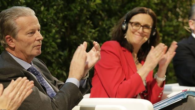 """EU-Kommissarin Malmström auf TTIP-""""Werbetour"""" (Bild: Klemens Groh)"""