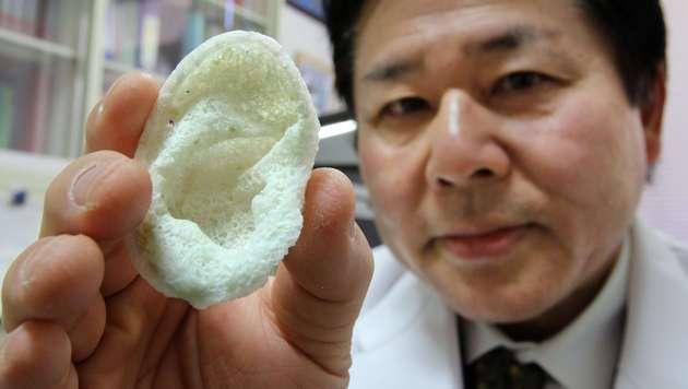 Ein Ohr haben Tsuyoshi Takato und sein Team bereits ausgedruckt. (Bild: AFP)