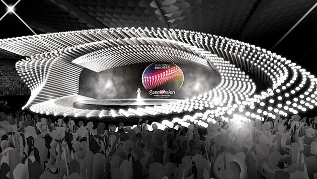 So wird die Bühne beim Song Contest ausschauen. (Bild: APA/ORF)