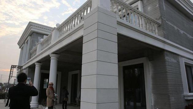 Der Eingangsbereich der 1.100-Quadratmeter-Villa aus dem 3D-Drucker (Bild: caixin.com)