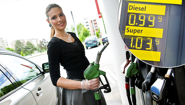 Nur 0,7 Prozent Inflation wegen billigen Sprits (Bild: Marion Hörmandinger, thinkstockphotos.de, krone.at-Grafik)