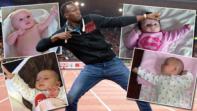 So beurteilt Usain Bolt seine süßen Nachahmer (Bild: APA/EPA/JEAN-CHRISTOPHE BOTT, twitter.com/Spikes)