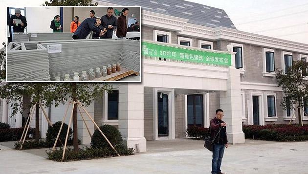 Wohnhaus und Villa mittels 3D-Drucker errichtet (Bild: caixin.com)
