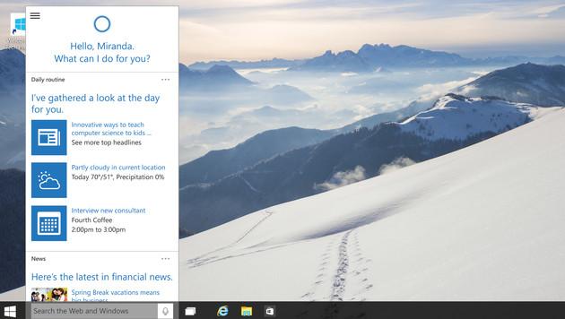 Cortana, eingebettet in die Taskleiste, versorgt den Nutzer mit allerlei Informationen. (Bild: Microsoft)