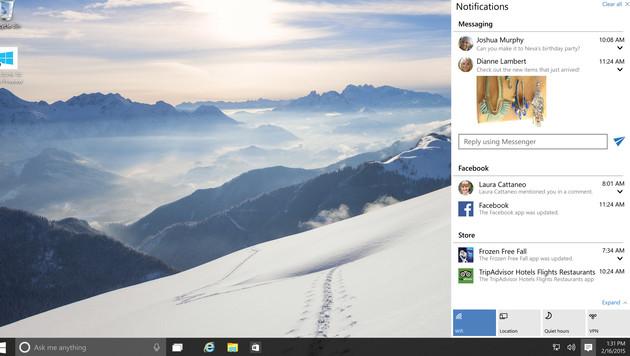 Das Benachrichtigungscenter hält den Nutzer auf dem Laufenden über seine Social-Media-Aktivitäten. (Bild: Microsoft)
