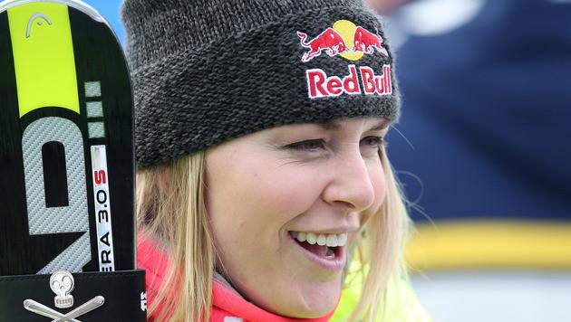 Lindsey Vonn ist auch in St. Moritz die Gejagte (Bild: GEPA)