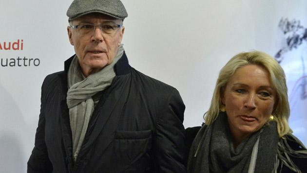 Franz und Heidi Beckenbauer bei ihrer Ankunft zur Audi Night (Bild: APA/HARALD SCHNEIDER)