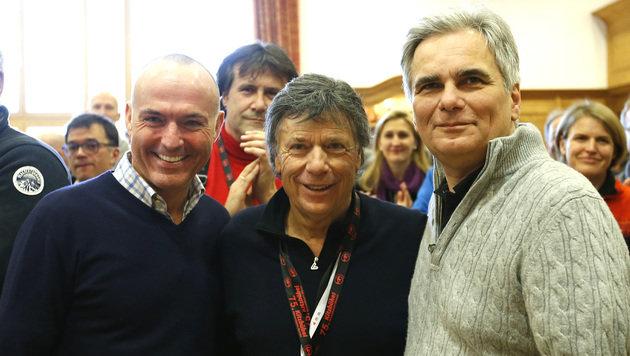 Minister Gerald Klug, ÖSV-Präsident Peter Schröcksnadel und BK Werner Faymann (v.l.n.r.) (Bild: APA/BKA/ANDY WENZEL)