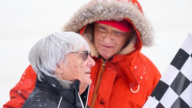 "Bernie Ecclestone und Niki Lauda während der ""Kitz Charity Trophy 2015"" (Bild: APA/EXPA/JFK)"