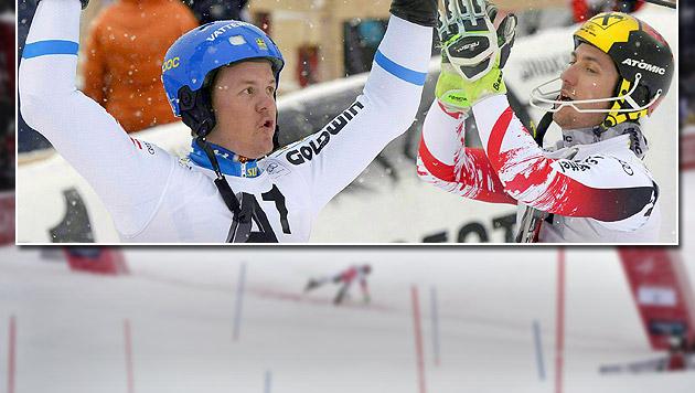 """Hirscher im """"Kitz""""-Slalom nur von Hargin besiegt (Bild: APA/EPA/HANS KLAUS TECHT, APA/HERBERT NEUBAUER)"""