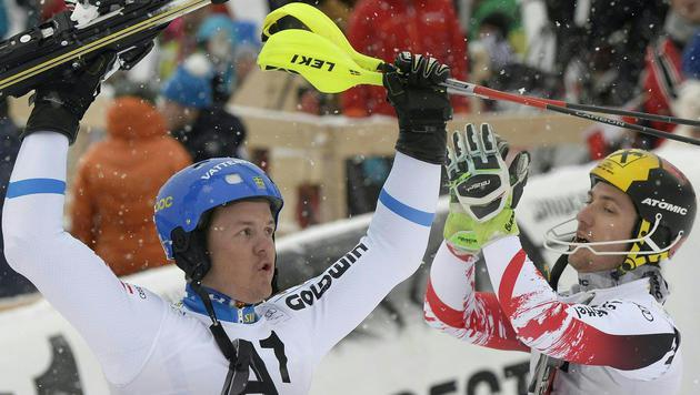 """Hirscher im """"Kitz""""-Slalom nur von Hargin besiegt (Bild: APA/HANS KLAUS TECHT)"""