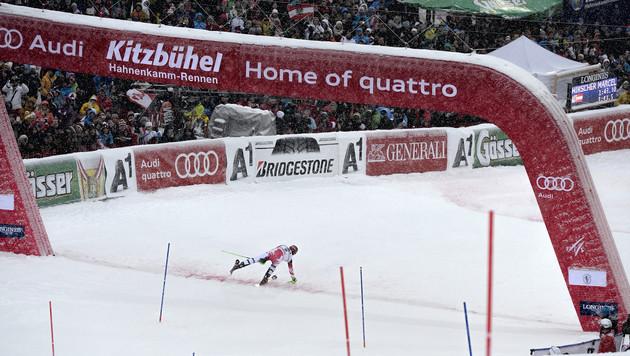 """Hirscher im """"Kitz""""-Slalom nur von Hargin besiegt (Bild: APA/HERBERT NEUBAUER)"""