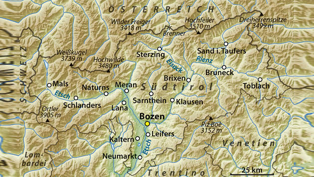 89% würden Vereinigung mit Südtirol positiv sehen (Bild: NordNordWest, relief by Lencer)