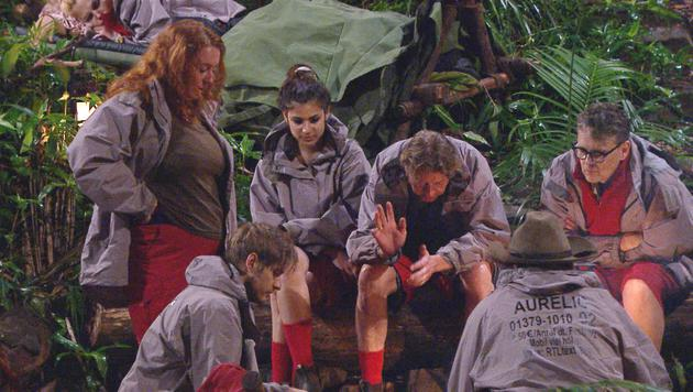 Rebecca, Jörn, Tanja, Walter, Aurelio und Rolfe am Lagerfeuer (Bild: RTL)
