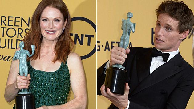 Julianne Moore und Eddie Redmayne wurden mit einem SAG Award ausgezeichnet. (Bild: APA/EPA/PAUL BUCK)