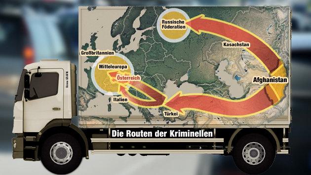 """Auf diesen Routen gelangen illegale Waffen bis ins Herz Europas. (Bild: """"Krone"""")"""