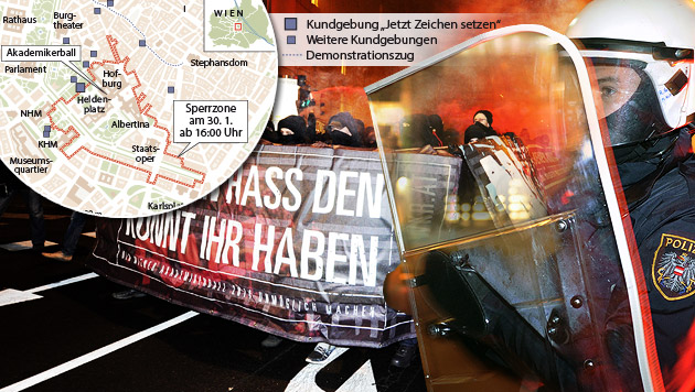"""NOWKR: """"Wir gehen auf jeden Fall auf die Straße"""" (Bild: APA/HERBERT P. OCZERET, APA/POLIZEI, krone.at-Grafik)"""