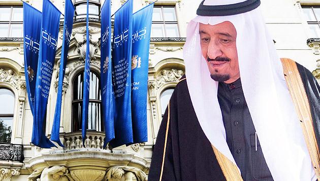 Der neue saudi-arabische König Salman; im Hintergrund das Abdullah-Zentrum in Wien (Bild: APA/ EPA/SAUDI PRESS AGENCY, APA/HERBERT NEUBAUER)