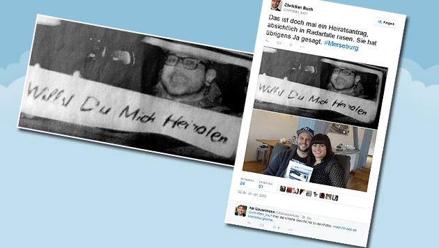 Deutscher ließ sich für Heiratsantrag blitzen (Bild: twitter.com/christian_buch)