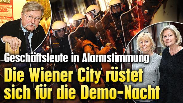 Die Wiener City r�stet sich f�r die Demo-Nacht (Bild: APA/GEORG HOCHMUTH, Peter Tomschi, krone.at-Grafik)