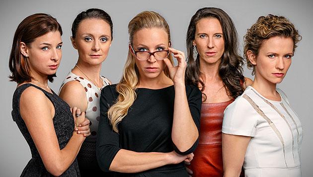 """Die """"Vorstadtweiber"""": Martina Ebm, Gerti Drassl, Nina Proll, Maria Köstlinger, Adina Vetter (Bild: ORF)"""