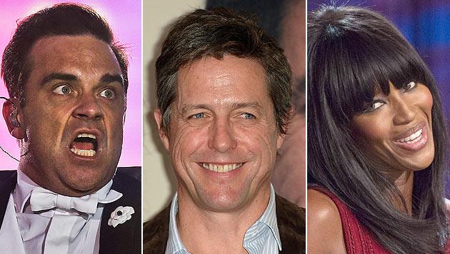 Starauflauf beim Glock-Reitturnier: Robbie Williams, Hugh Grant und Naomi Campbell (Bild: EPA/JOS SENA GOULAO, EPA/BRITTA PEDERSEN, EPA/SEBASTIAN KAHNERT)