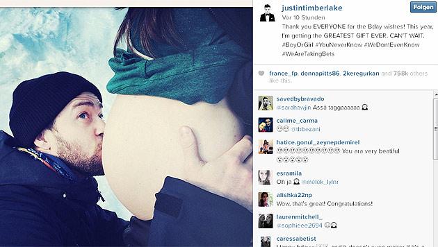 Mit diesem Bild hatte das Ehepaar Timberlake-Biel die Babygerüchte bestätigt. (Bild: Instagram.com/justintimberlake)