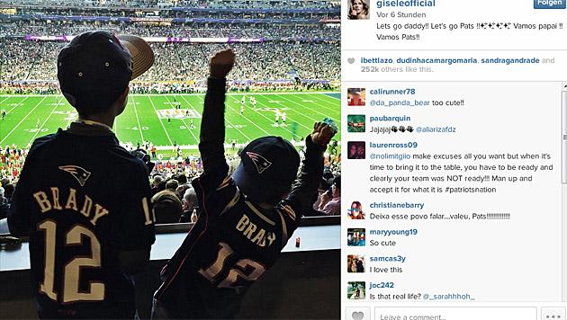 'Let's go Daddy!!!' Auch Tom Bradys Kinder halten ihm die Daumen. (Bild: instagram.com/giseleofficial)