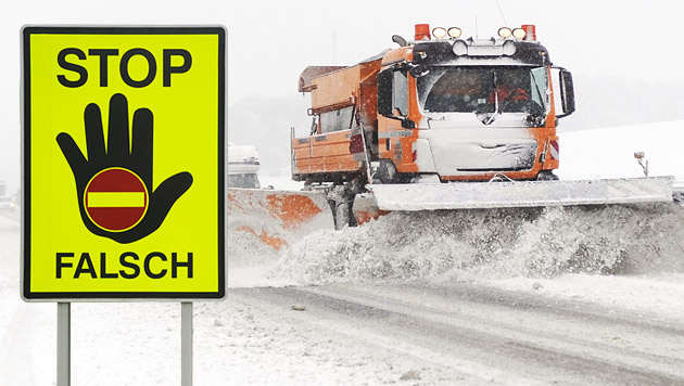 Mit Schneepflug Geisterfahrer auf A9 verfolgt (Bild: APA/HELMUT FOHRINGER, APA/HERBERT PFARRHOFER)