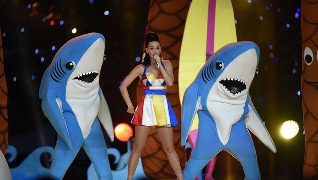 Katy Perry lieferte eine fetzige Halbzeitshow. (Bild: AFP/TIMOTHY A. CLARY)