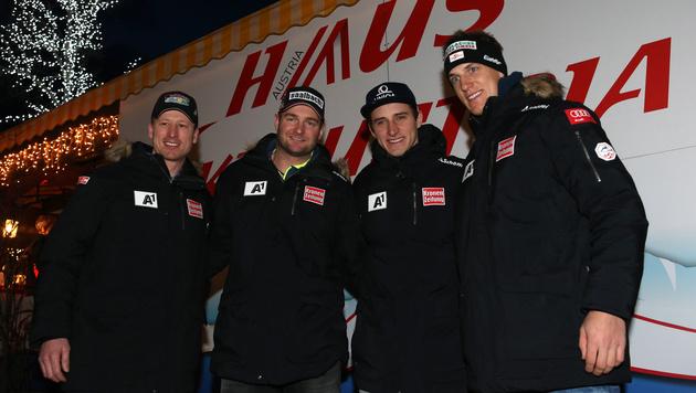 Das Super-G-Team: Hannes Reichelt, Georg Streitberger, Matthias Mayer und Otmar Striedinger (Bild: GEPA)