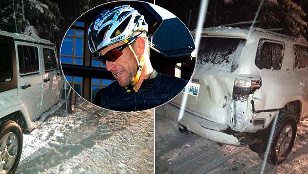 Armstrong baut Unfall und gibt Freundin die Schuld (Bild: AP)