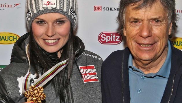 Anna Fenninger und ÖSV-Boss Schröcksnadel (Bild: Christof Birbaumer)